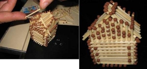 Крыша для домика из спичек без клея