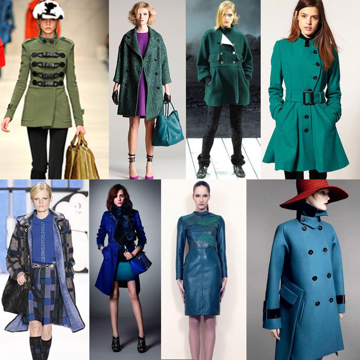 Синий и зеленый в моде зимой