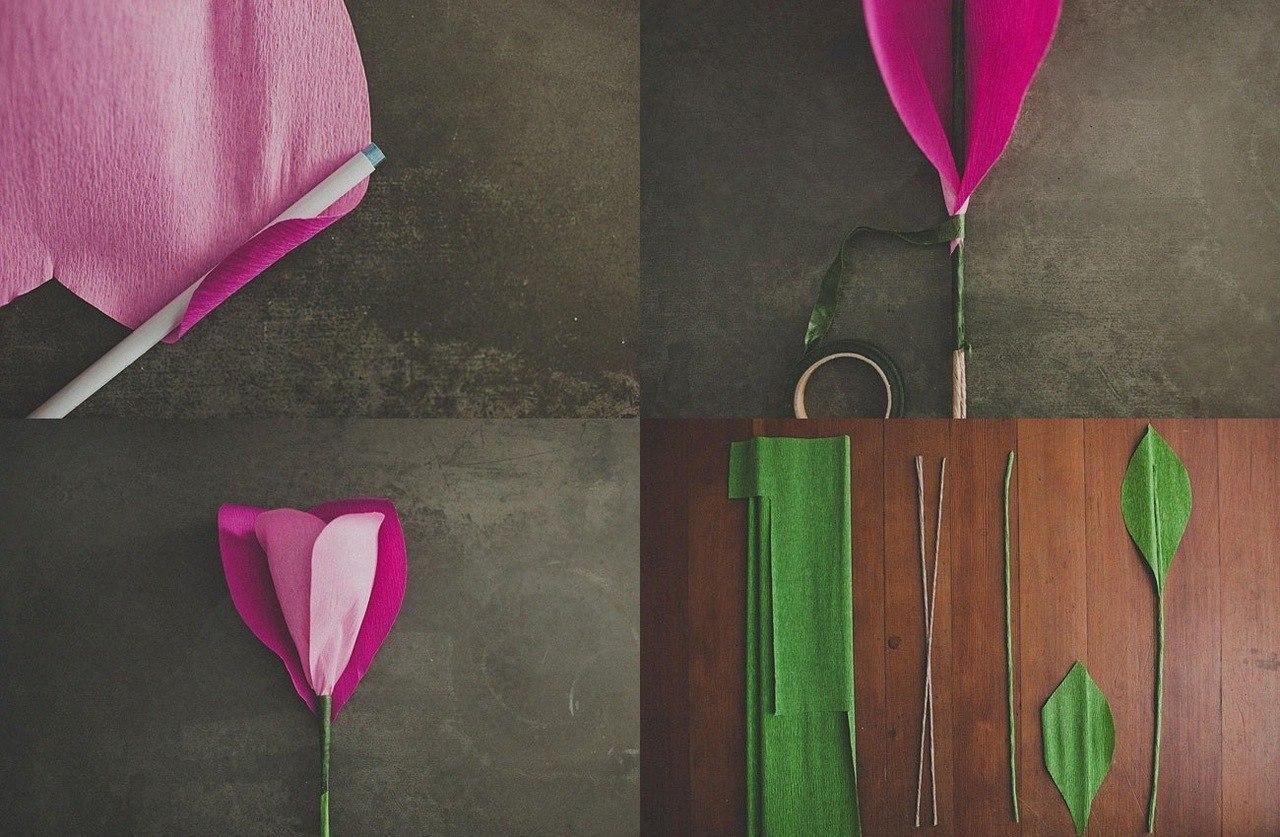 Как сделать розы из крепированной бумаги своими руками 648