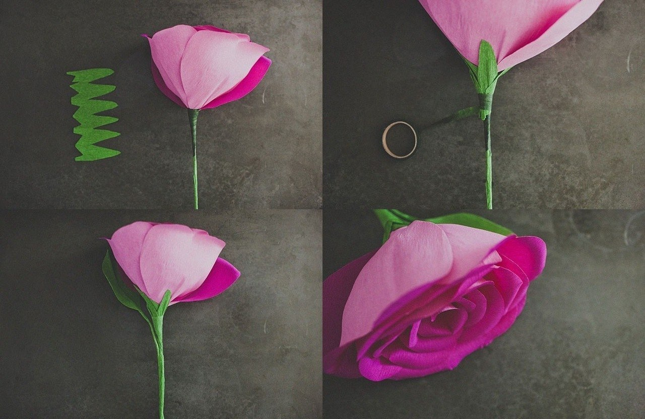 Поделки своими руками из бумаги цветок роза